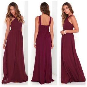 Lulu's Air of Romance Dress in Burgundy